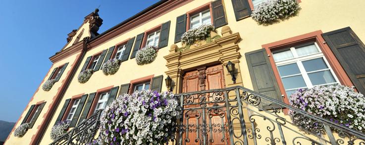 Vorderansicht des Ebringer Schlosses mit blühenden Petunien an Fenstern und Treppengeländer - Foto aufgenommen aus der Froschperspektive