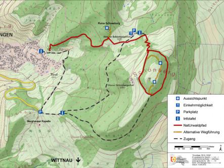 Plan mit der Streckenführung des NatUrwaldpfades